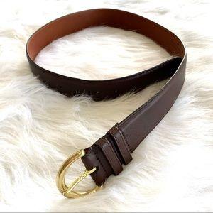 Coach Dark Brown Leather Brass Buckle Belt